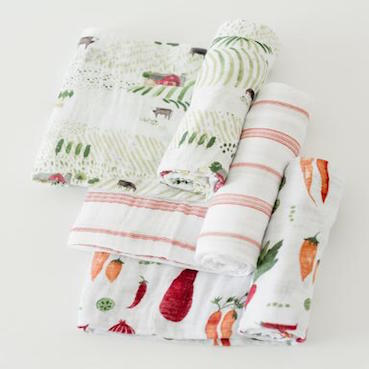 LITTLE UNICORN FARMERS MARKET COTTON MUSLIN SWADDLE 3 PACK