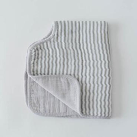 LITTLE UNICORN GREY STRIPE COTTON MUSLIN BURP CLOTH
