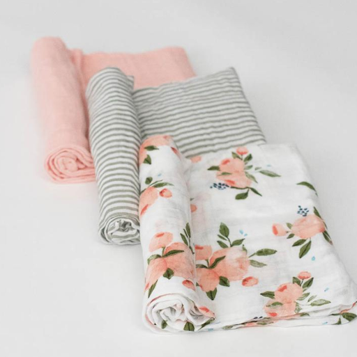 LITTLE UNICORN WATERCOLOR ROSES COTTON MUSLIN SWADDLE 3 PACK
