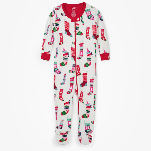 HATLEY HOLIDAY STOCKINGS ORGANIC COTTON FOOTED COVERALL