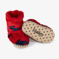 HATLEY MOOSE GATHERING FLEECE SLIPPERS