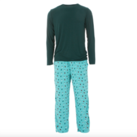 KICKEE PANTS MENS HOLIDAY LONG SLEEVE PAJAMA SET IN HOLIDAY LIGHTS