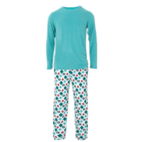 KICKEE PANTS MENS HOLIDAY LONG SLEEVE PAJAMA SET IN VINTAGE ORNAMENTS