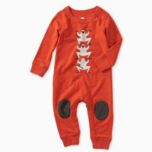 TEA MONKEY GRAPHIC KNEE PATCH ROMPER