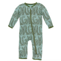 KICKEE PANTS PRINT COVERALL WITH ZIPPER IN SHORE FERN