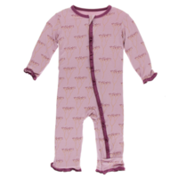 KICKEE PANTS PRINT MUFFIN RUFFLE COVERALL WITH ZIPPER IN COOKSONIA