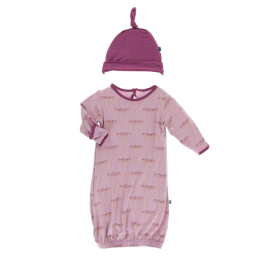 KICKEE PANTS PRINT GOWN & SINGLE KNOT HAT SET IN COOKSONIA