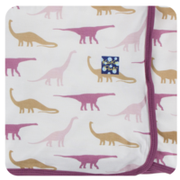 KICKEE PANTS PRINT SWADDLING BLANKET IN NATURAL SAUROPODS