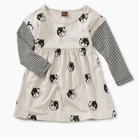 TEA PRINTED LAYERED SLEEVE BABY DRESS