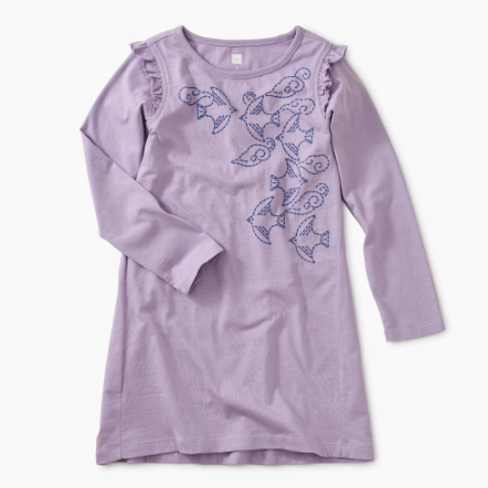 TEA GRACEFUL RAVENS GRAPHIC DRESS