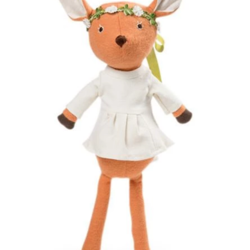 HAZEL VILLAGE HAZEL VILLAGE PHOEBE FAWN IN NATURAL TUNIC AND FLOWER CROWN