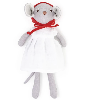 HAZEL VILLAGE CATALINA MOUSE IN WHITE LINEN DRESS AND BONNET
