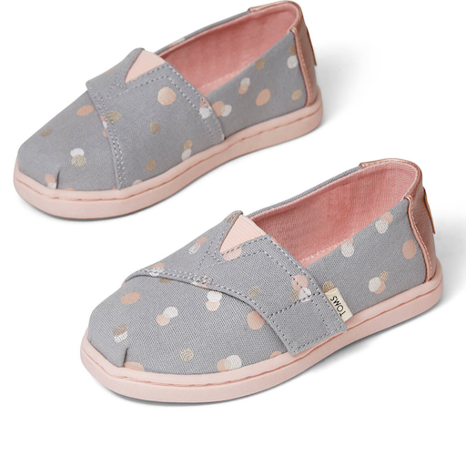 TOMS SHOES DRIZZLE GREY PARTY DOTS TOMS CLASSICS