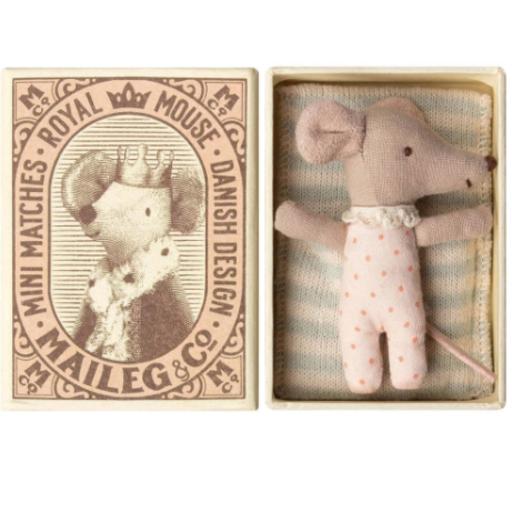 MAILEG SLEEPY/WAKEY BABY MOUSE IN BOX-GIRL
