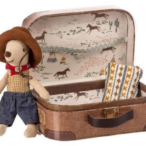 MAILEG LITTLE BROTHER COWBOY IN SUITCASE MOUSE