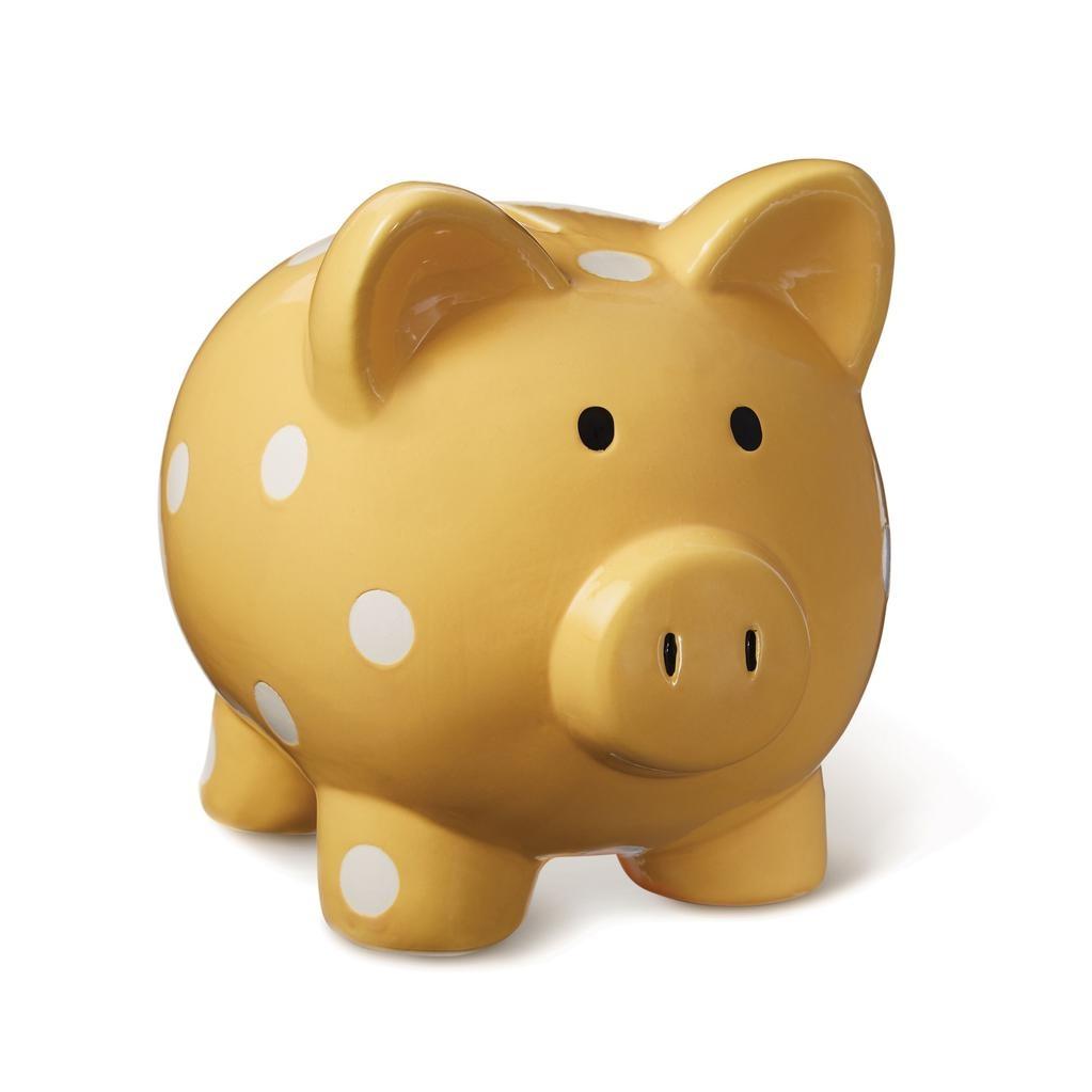 ELEGANT BABY CLASSIC DOT PIGGY BANK - MUSTARD