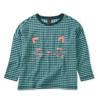 TEA MEOW GRAPHIC DOUBLE KNIT TOP