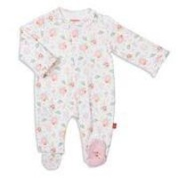 MAGNIFICENT BABY NOTTINGHAM FLORAL ORGANIC COTTON MAGNETIC FOOTIE