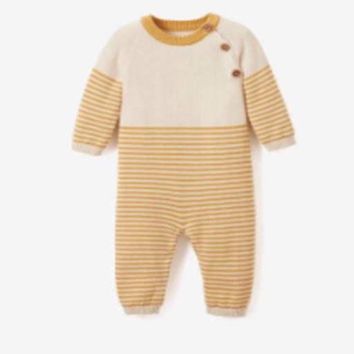 ELEGANT BABY JUMPSUIT - MUSTARD STRIPE