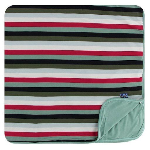 KICKEE PANTS PRINT TODDLER BLANKET IN CHRISTMAS MULTI STRIPE
