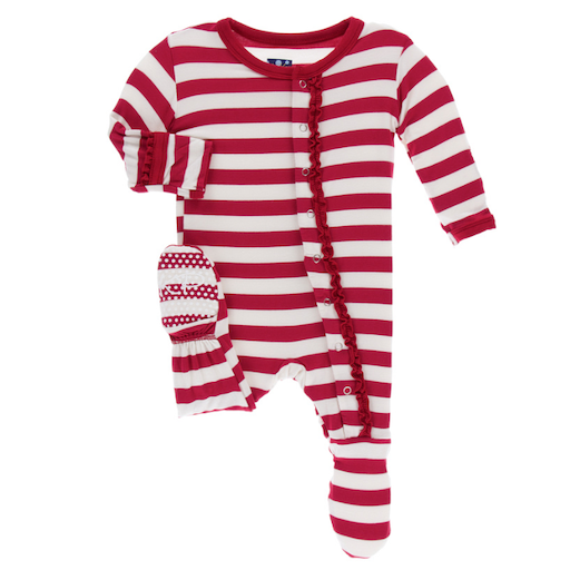 KICKEE PANTS PRINT MUFFIN RUFFLE FOOTIE WITH ZIPPER IN CANDY CANE STRIPE