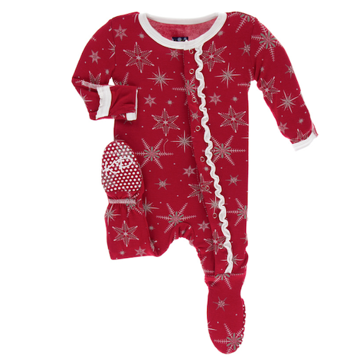 KICKEE PANTS PRINT MUFFIN RUFFLE FOOTIE WITH ZIPPER IN CRIMSON SNOWFLAKES