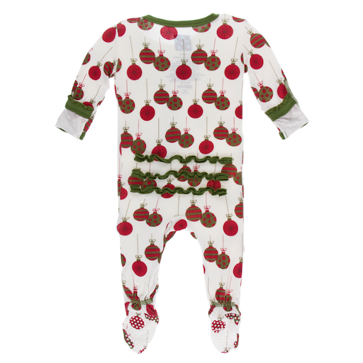 KICKEE PANTS PRINT MUFFIN RUFFLE FOOTIE WITH ZIPPER IN NATURAL ORNAMENTS