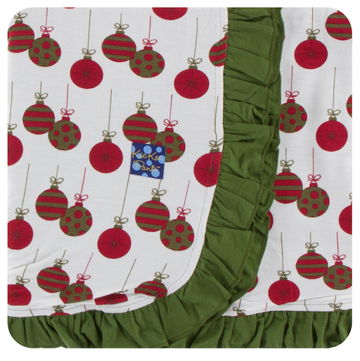 KICKEE PANTS PRINT RUFFLE TODDLER BLANKET IN NATURL ORNAMENTS