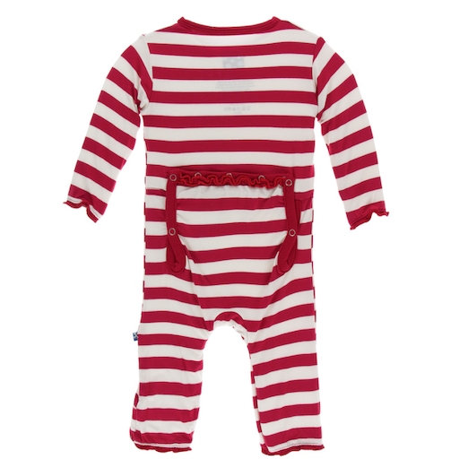KICKEE PANTS PRINT MUFFIN RUFFLE COVERALL WITH ZIPPER IN CANDY CANE STRIPE