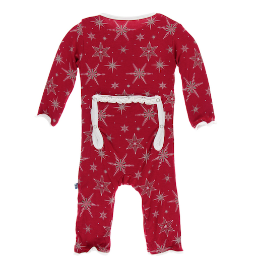 KICKEE PANTS PRINT MUFFIN RUFFLE COVERALL WITH ZIPPER IN CRIMSON SNOWFLAKES