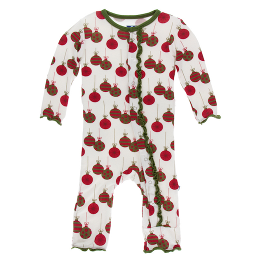 KICKEE PANTS PRINT MUFFIN RUFFLE COVERALL WITH ZIPPER IN NATURAL ORNAMENTS