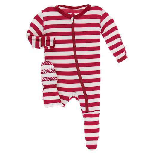 KICKEE PANTS PRINT FOOTIE WITH ZIPPER IN CANDY CANE STRIPE