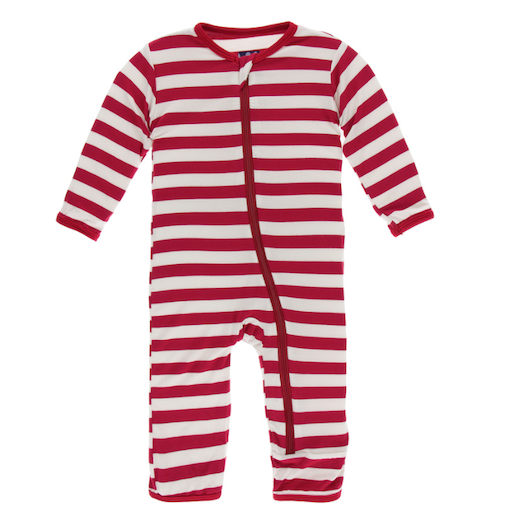 KICKEE PANTS PRINT COVERALL WITH ZIPPER IN CANDY CANE STRIPE