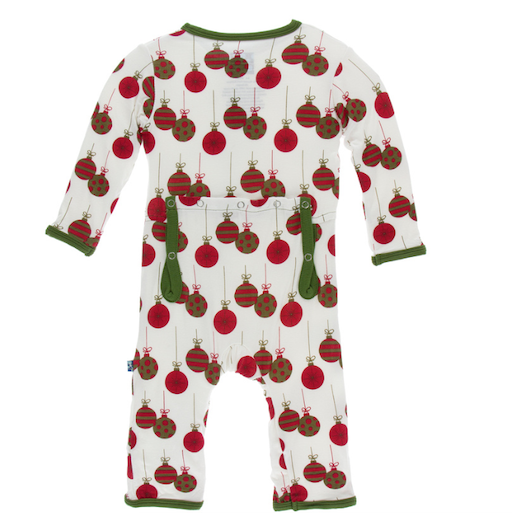 KICKEE PANTS PRINT COVERALL WITH ZIPPER IN NATURAL ORNAMENTS