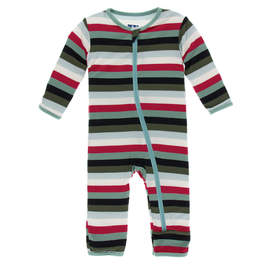 KICKEE PANTS PRINT COVERALL WITH ZIPPER IN CHRISTMAS MULTI STRIPE