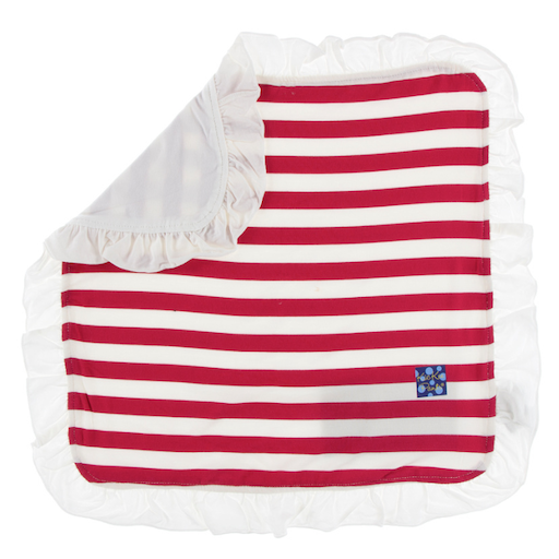 KICKEE PANTS PRINT RUFFLE BAMBOO LOVEY IN CANDY CANE STRIPE