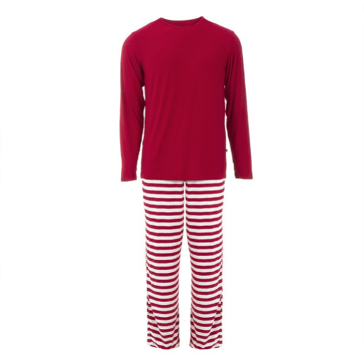 KICKEE PANTS MEN'S LONG SLEEVE PAJAMA SET IN CANDY CANE STRIPE 2019