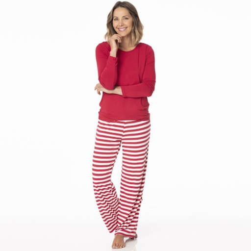 KICKEE PANTS WOMEN'S LONG SLEEVE LOOSEY GOOSEY TEE& PANT SET IN CANDY CANE STRIPE 2019