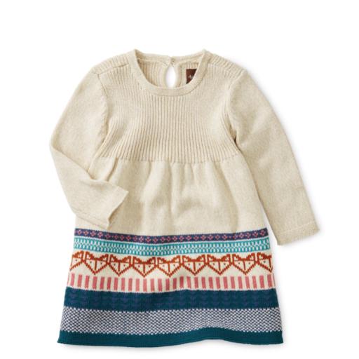 TEA FOX FAIRISLE BABY SWEATER DRESS