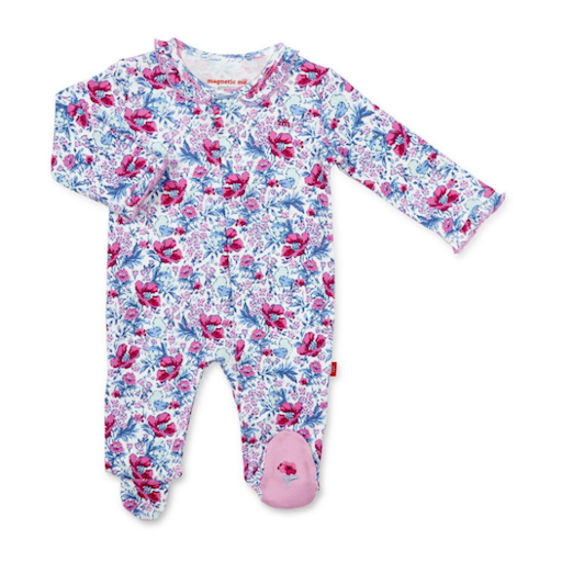 MAGNIFICENT BABY DARLINGTON FLORAL  ORGANIC COTTON MAGNETIC FOOTIE