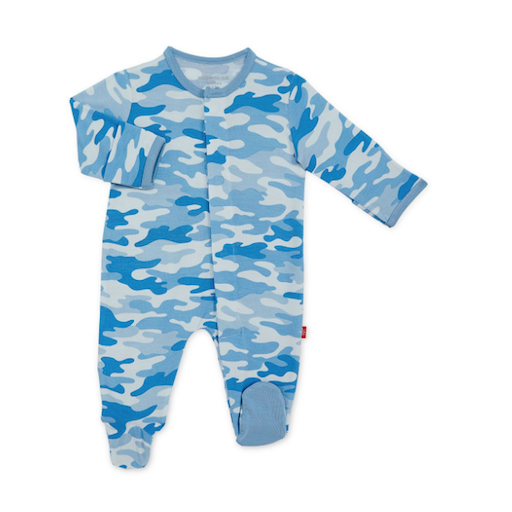 MAGNIFICENT BABY BLUE CAMO CHIC MODAL MAGNETIC FOOTIE