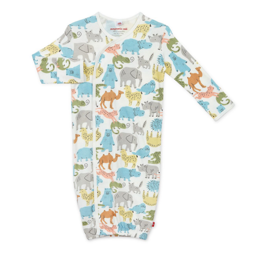 MAGNIFICENT BABY ZOO CREW ORGANIC COTTON MAGNETIC GOWN