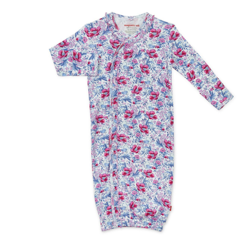 MAGNIFICENT BABY DARLINGTON FLORAL ORGANIC COTTON MAGNETIC GOWN