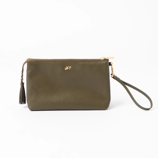 FRESHLY PICKED FRESHLY PICKED CLASSIC ZIP POUCH IN OLIVE GREEN
