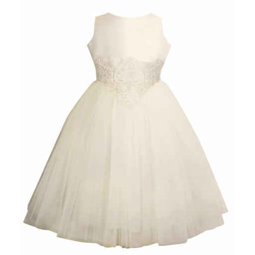 ISABEL GARRETON ENCHANTING TAFFATA AND TULLE MID-CALF GIRLS DRESS
