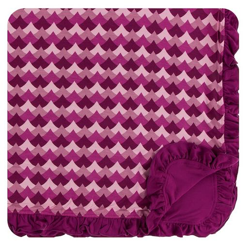 KICKEE PANTS PRINT RUFFLE TODDLER BLANKET IN MELODY WAVES