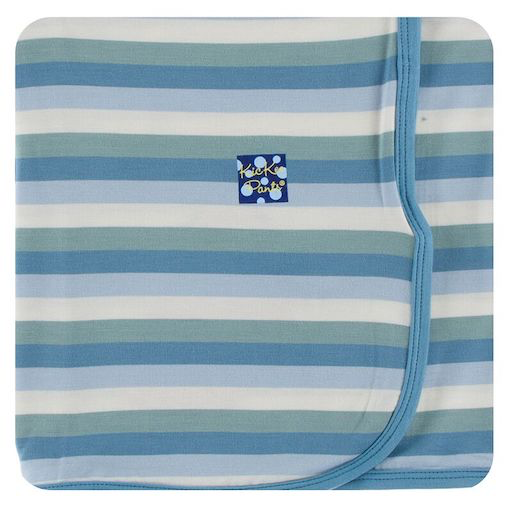 KICKEE PANTS PRINT SWADDLING BLANKET IN OCEANOGRAPHY STRIPE
