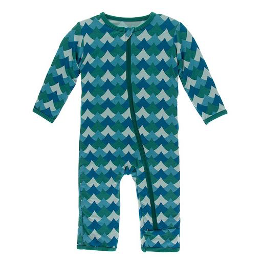 KICKEE PANTS PRINT COVERALL WITH ZIPPER IN IVY WAVES