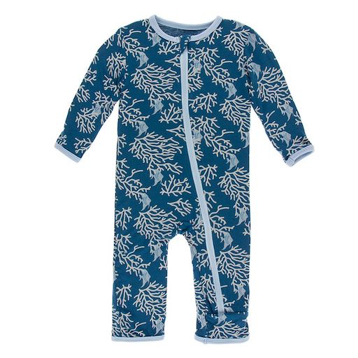 KICKEE PANTS PRINT COVERALL WITH ZIPPER IN TWILIGHT CORAL FANS