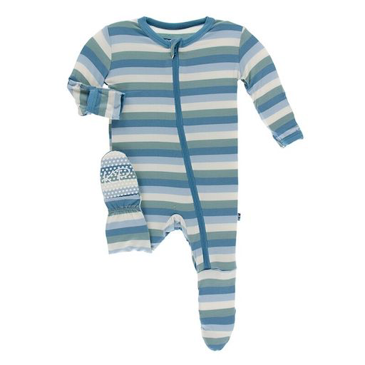 KICKEE PANTS PRINT FOOTIE WITH ZIPPER IN OCEANOGRAPHY STRIPE